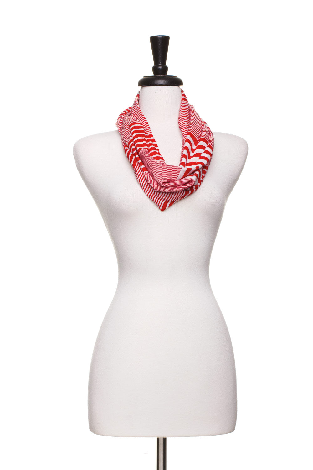 Type 4 Red, White and Stripe Infinity Scarf