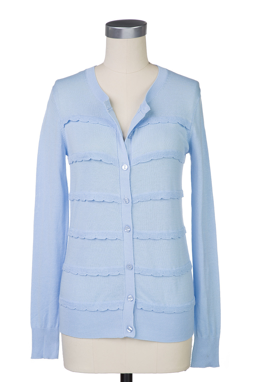 Type 2 Sweet Scallop Cardigan in Light Blue