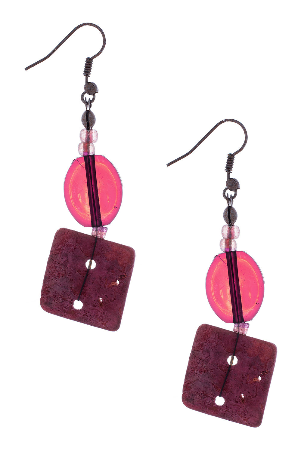 Type 3 Burgundy Resin Earrings