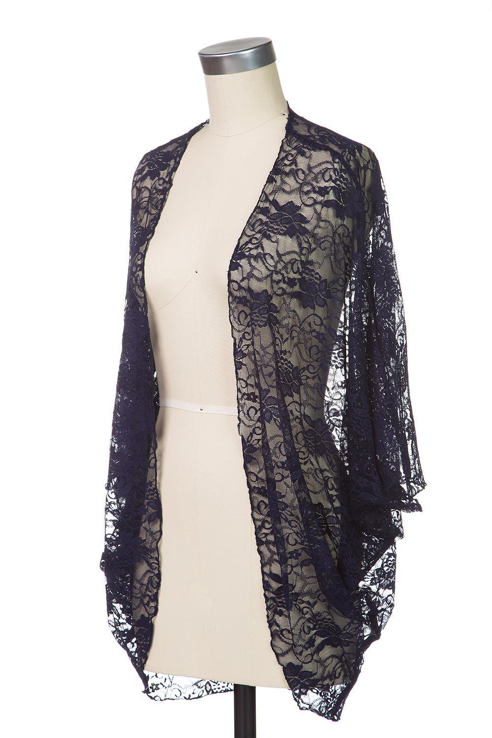 Type 2 Blended Navy Lace Cardigan