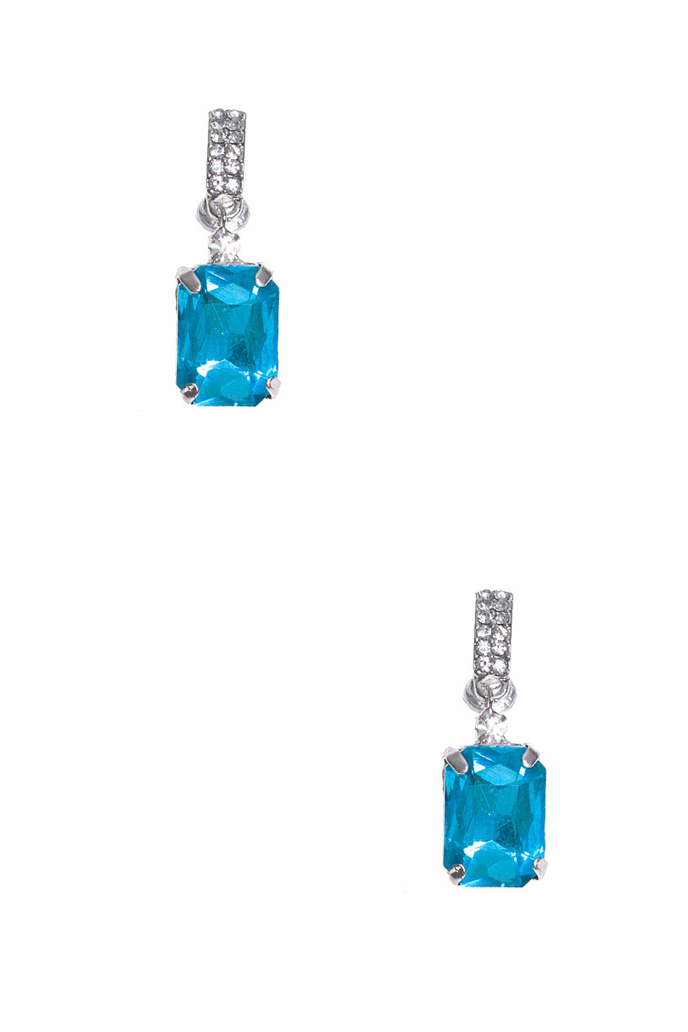 Type 4 Diamond Gem Earrings in Icy Blue