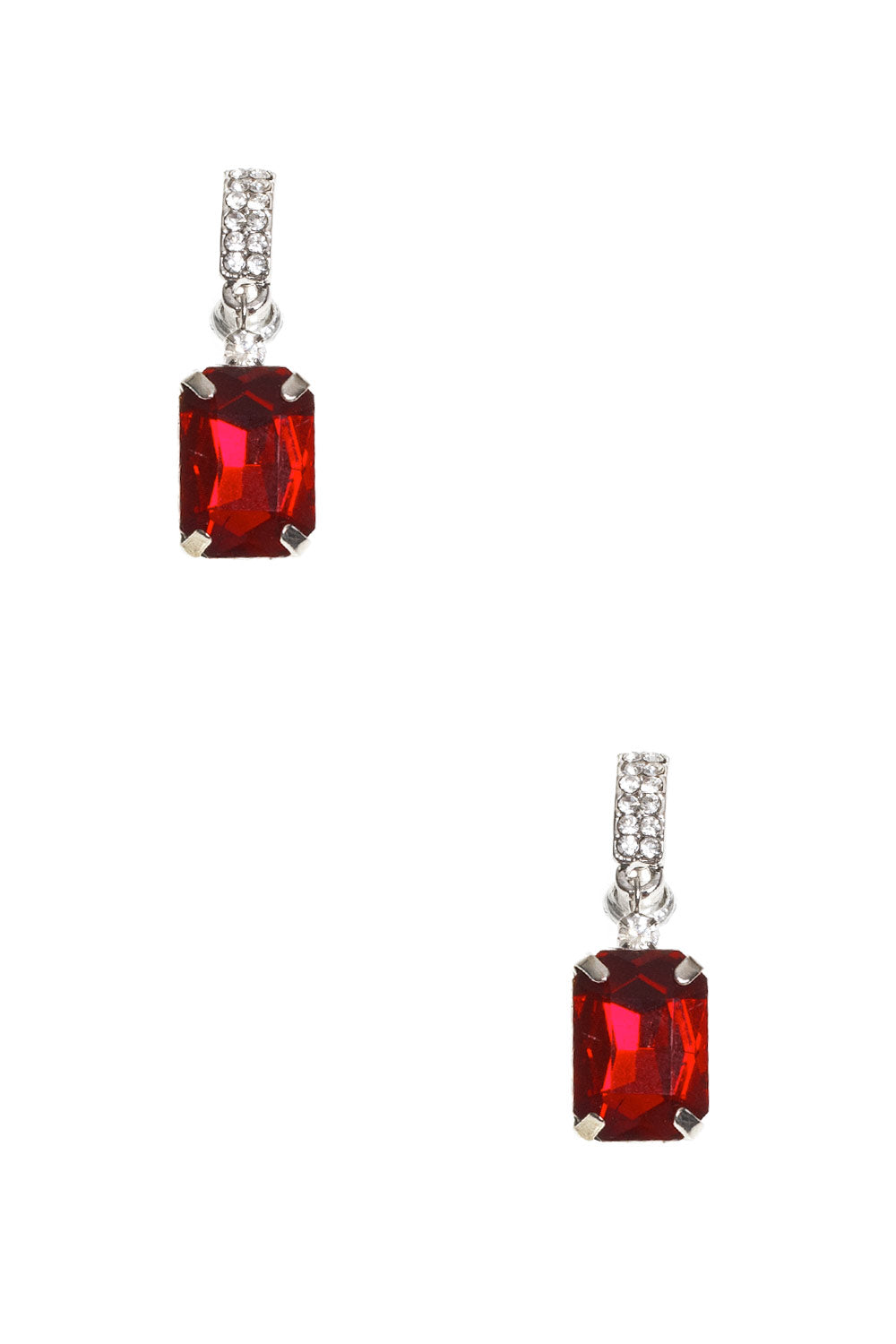 Type 4 Diamond Gem Earrings in Red