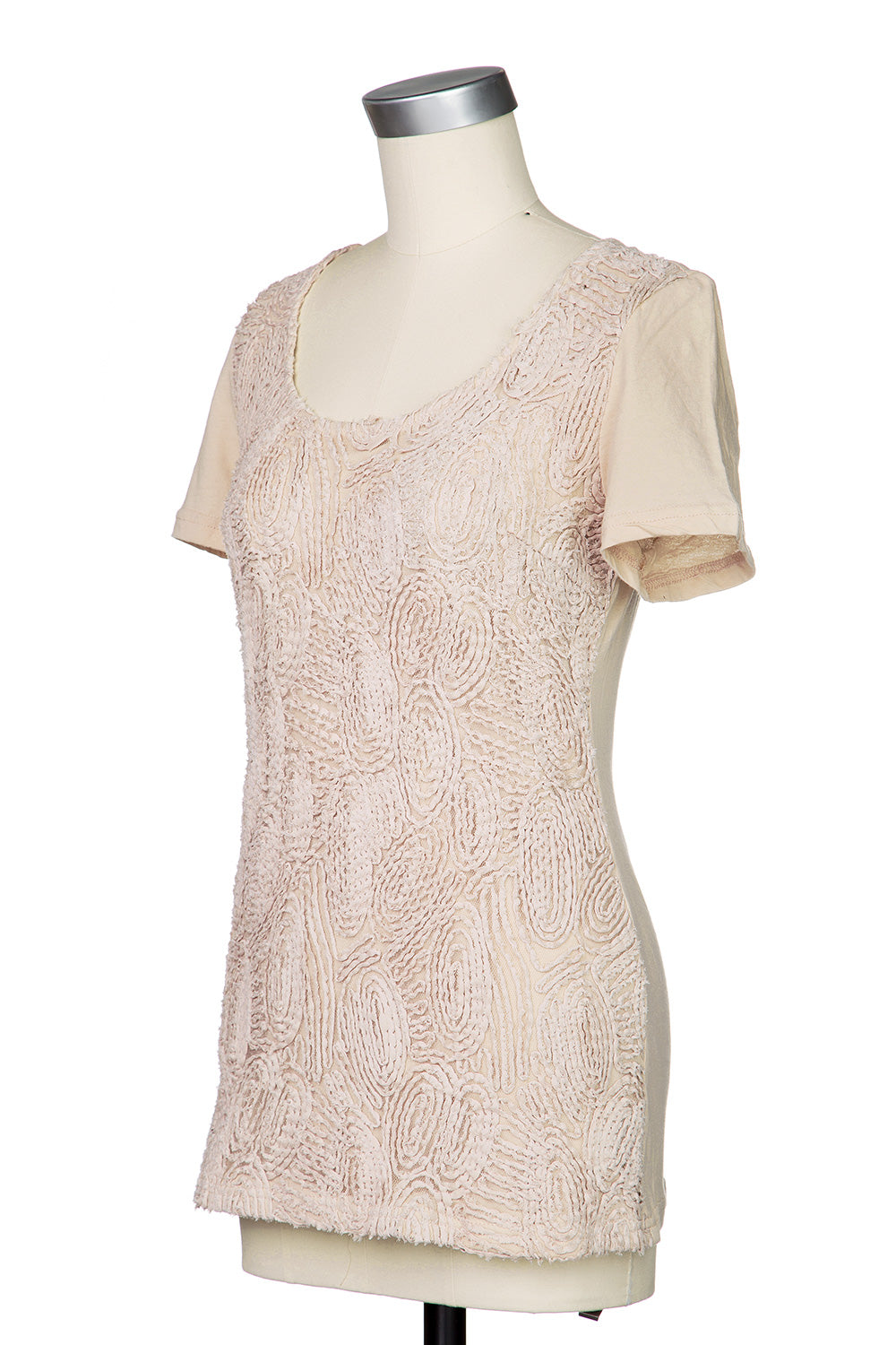 Type 2 Textured Flowers Top in Taupe