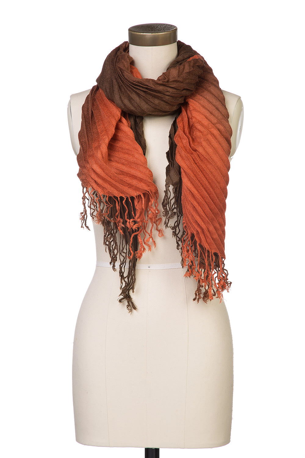 Type 3 Accordion Ombre Scarf in Coffee and Rusty Red