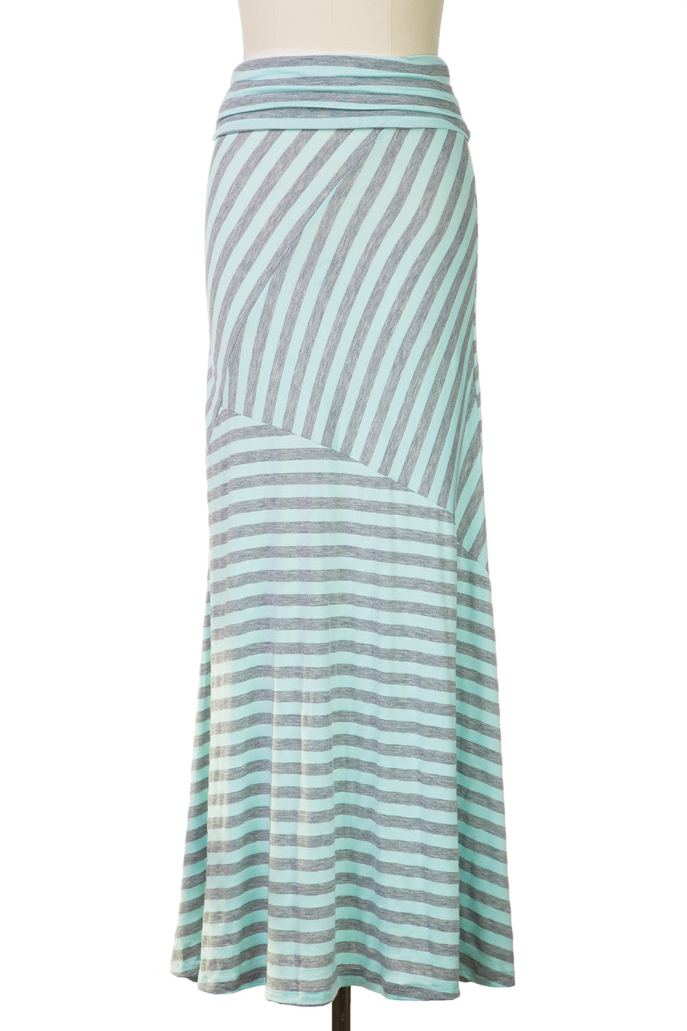 Type 2 Gray and Blue Striped Maxi Skirt