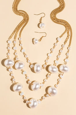 Type 1 Pearly Girl Necklace/Earring Set