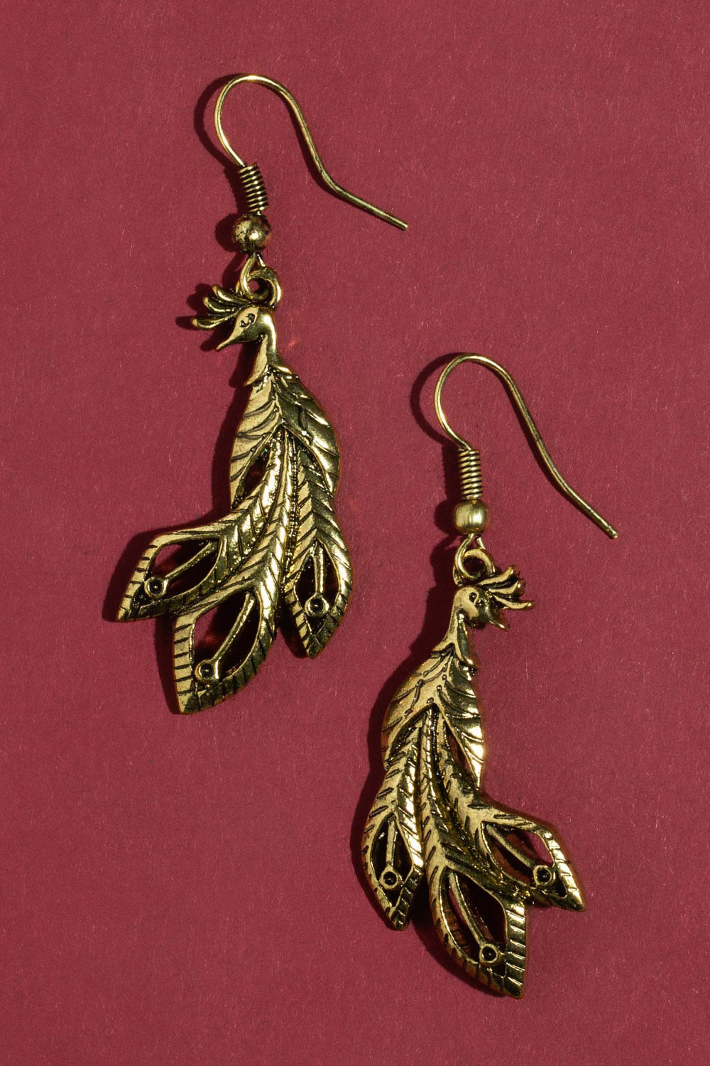 Type 3 Peacock Earrings - Gold