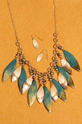 Type 3 Gold Leaf Necklace/Earring Set