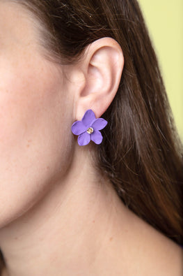 Type 1 Purple Poppies Earrings