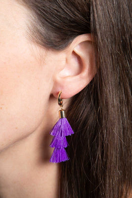 Type 1 Purple Tiered Tassel Earrings