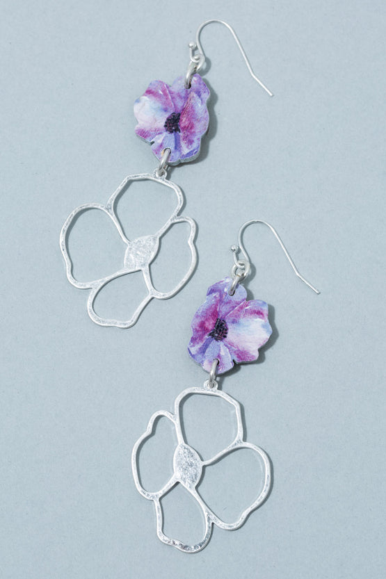 Type 2 Purple Poppy Earrings
