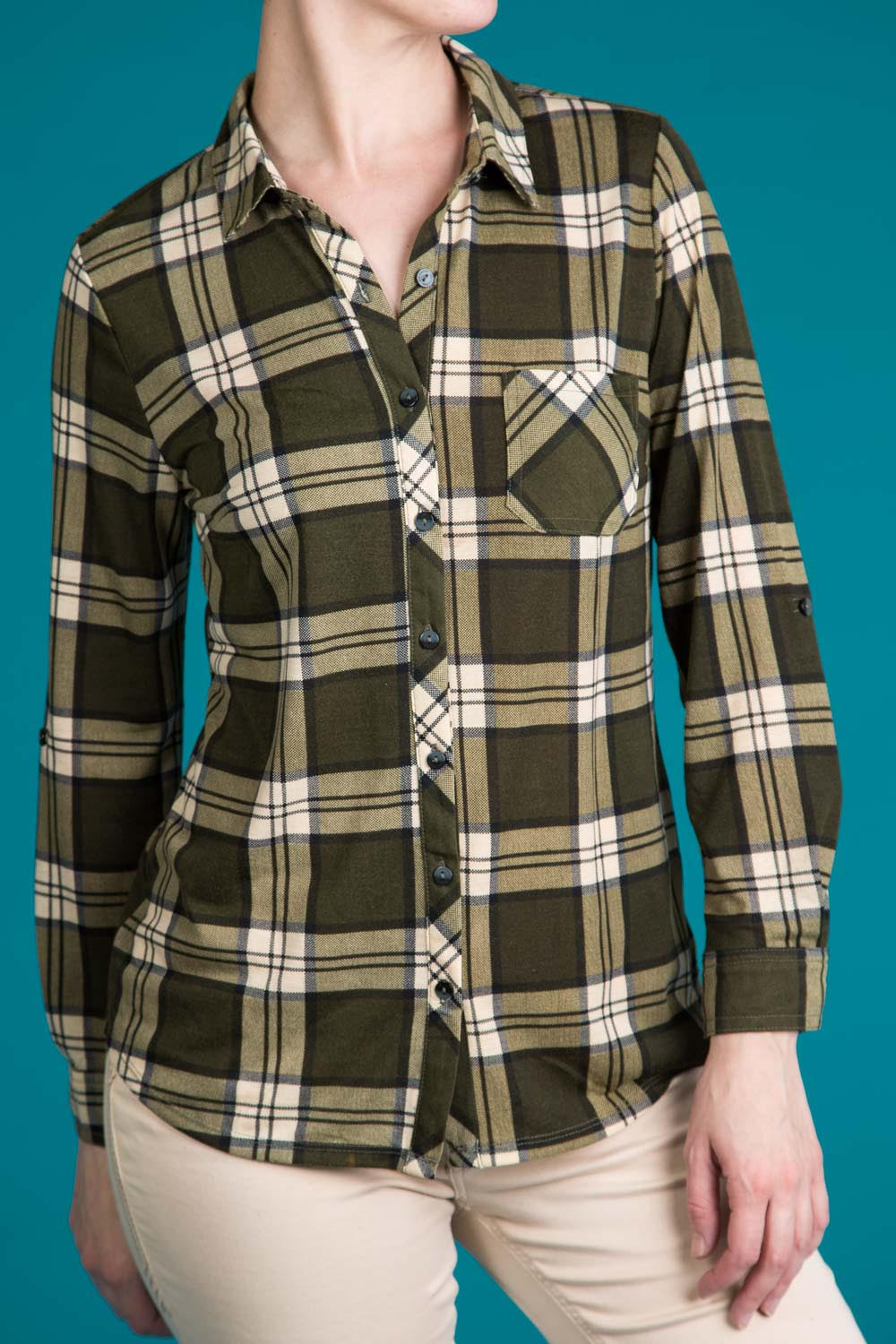 Type 3 Olive Plaid Top