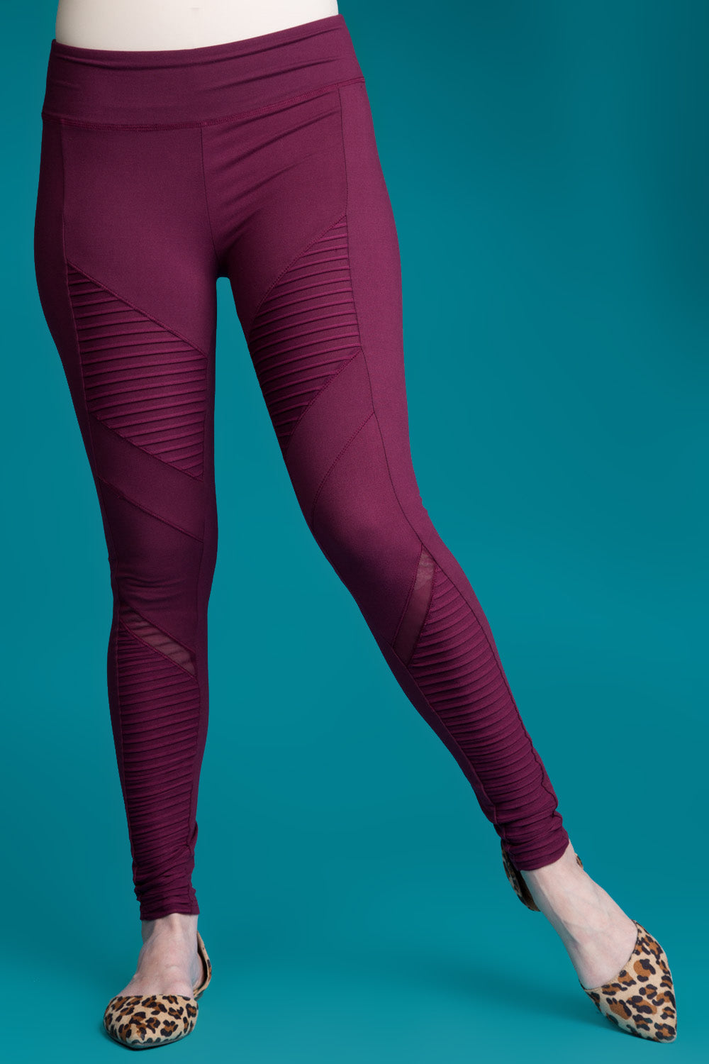 Type 3 Burgundy Moto Leggings