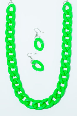 Type 4 Neon & On Set in Green Necklace/Earring Set