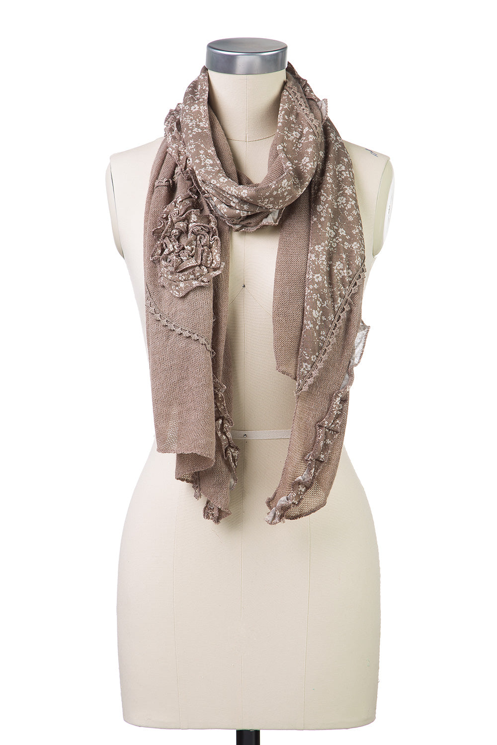 Type 2 Ruffled Rose Scarf in Taupe