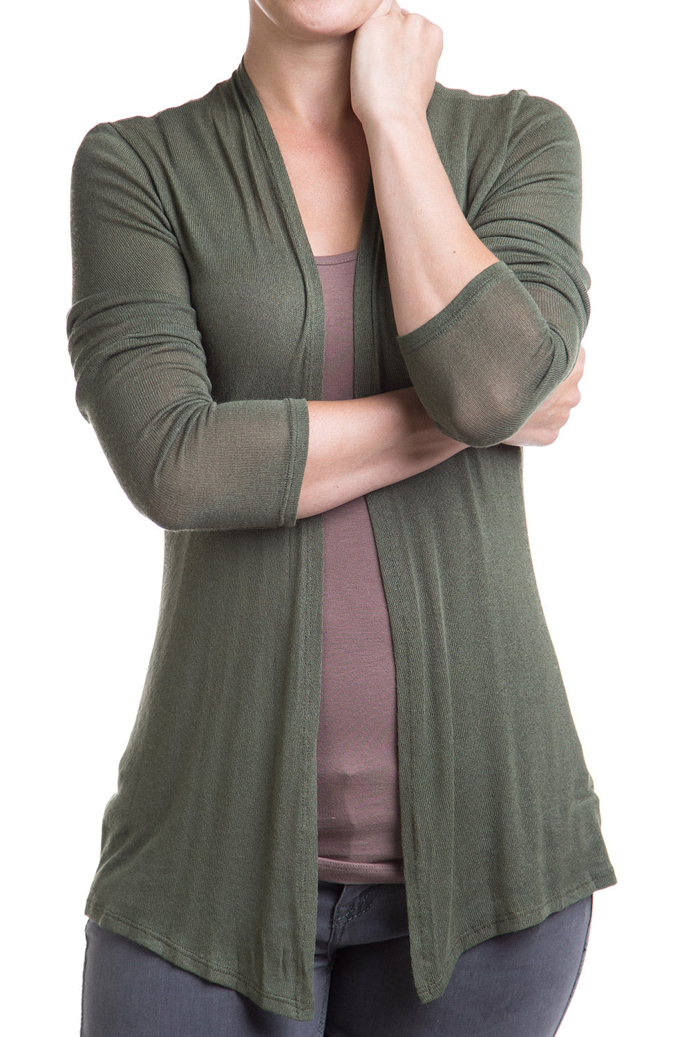 Type 2 Light Layer Cardigan in Olive