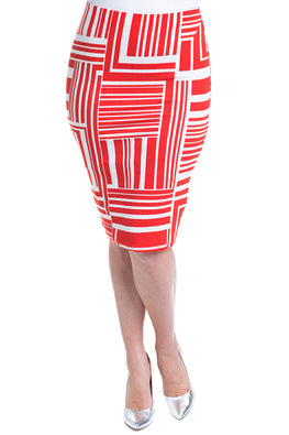 Type 4 Squared Lines Knit Pencil Skirt