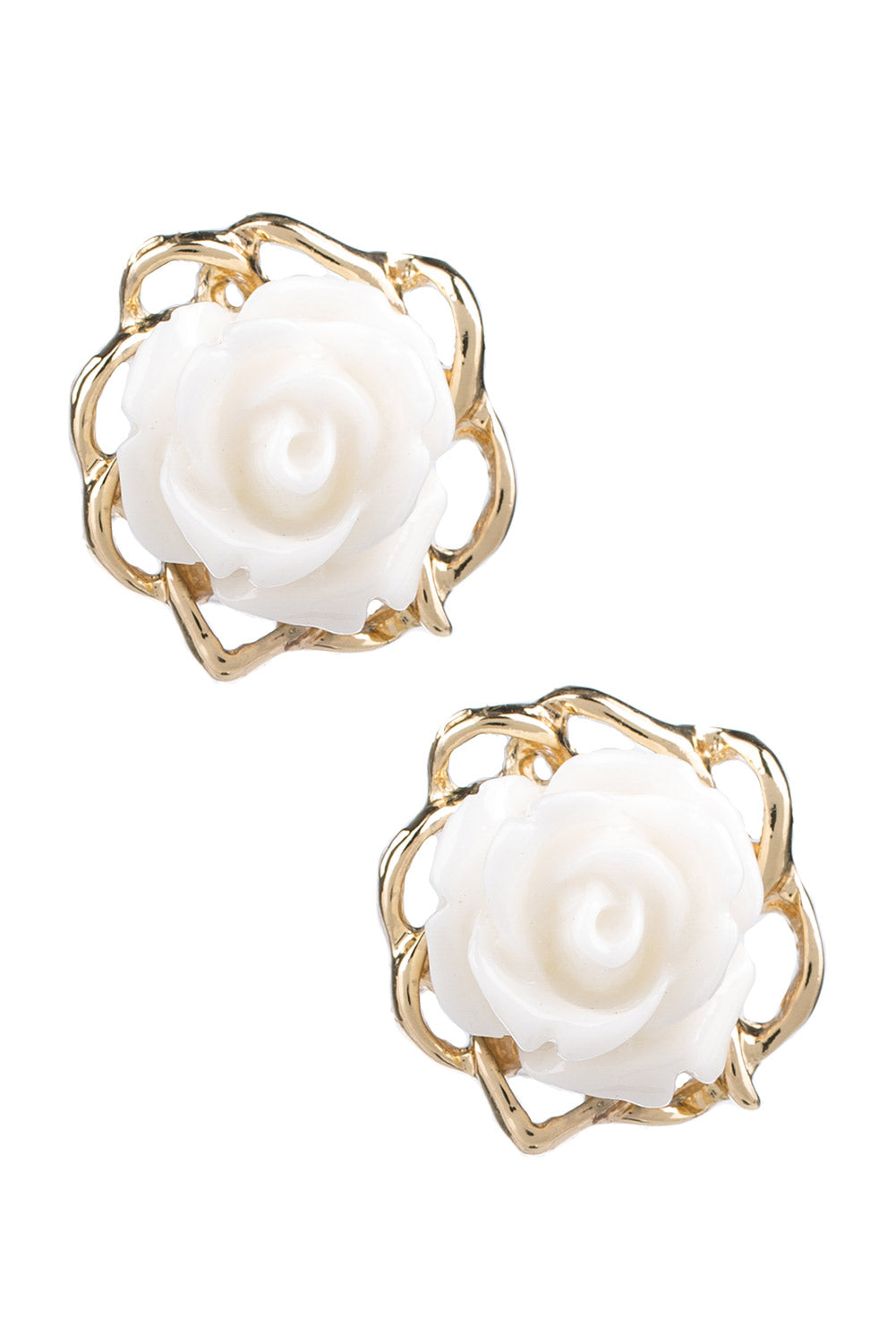 Type 1 Rose Bud Earrings in Ivory