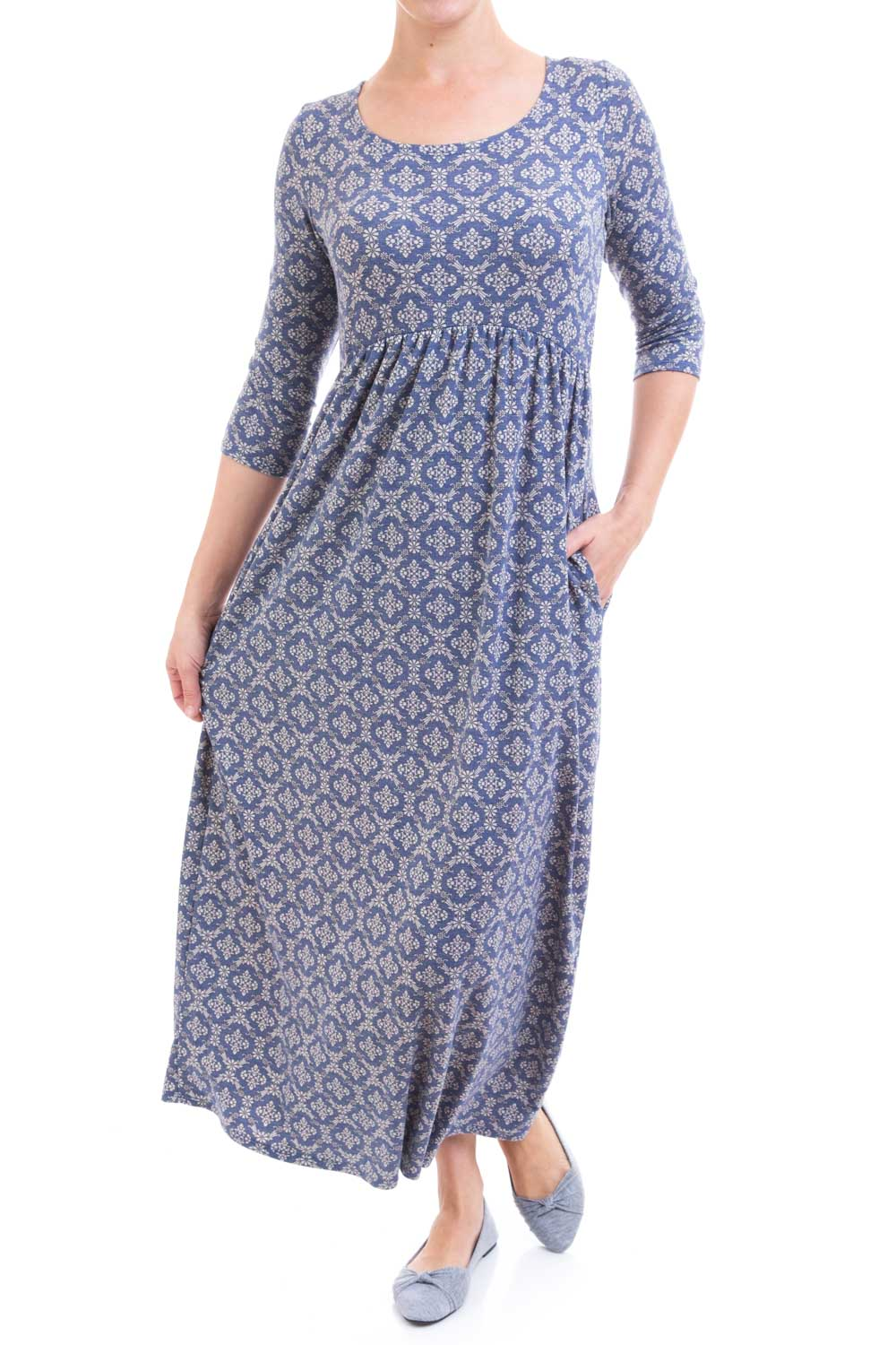 Type 2 Cozy Comfy Dress In Navy and Grey Floral