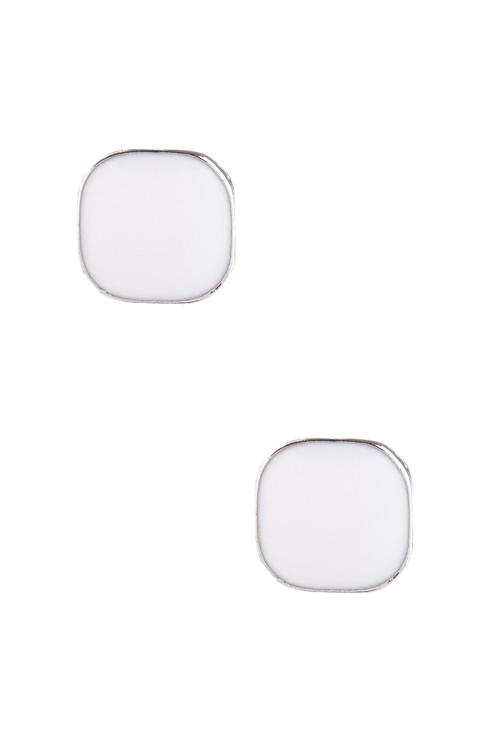 Type 4 Square Peg Earrings In White
