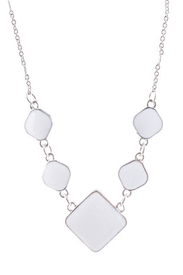 Type 4 Square Peg Necklace In White