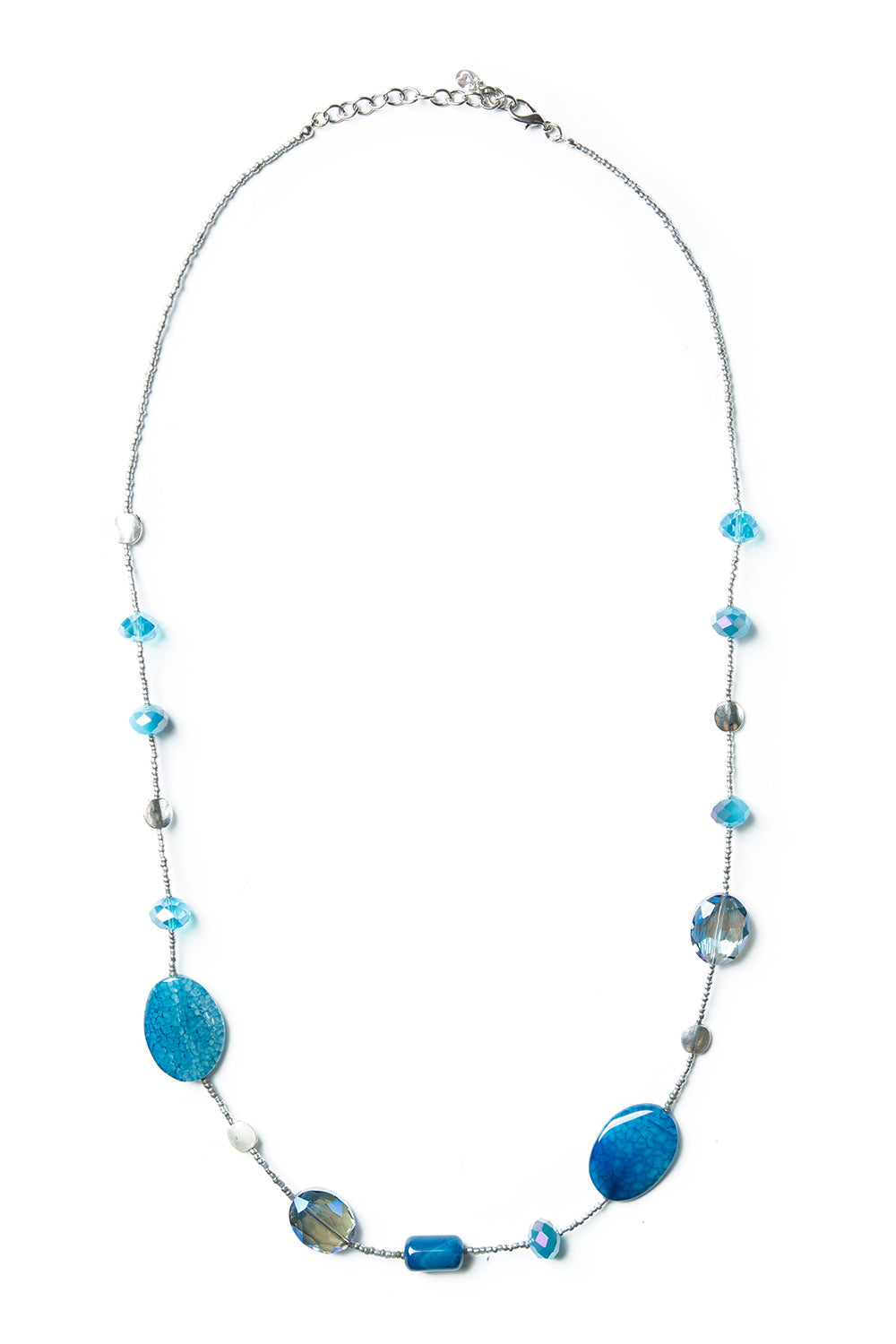 Type 2 Blue Trailing Silver Necklace