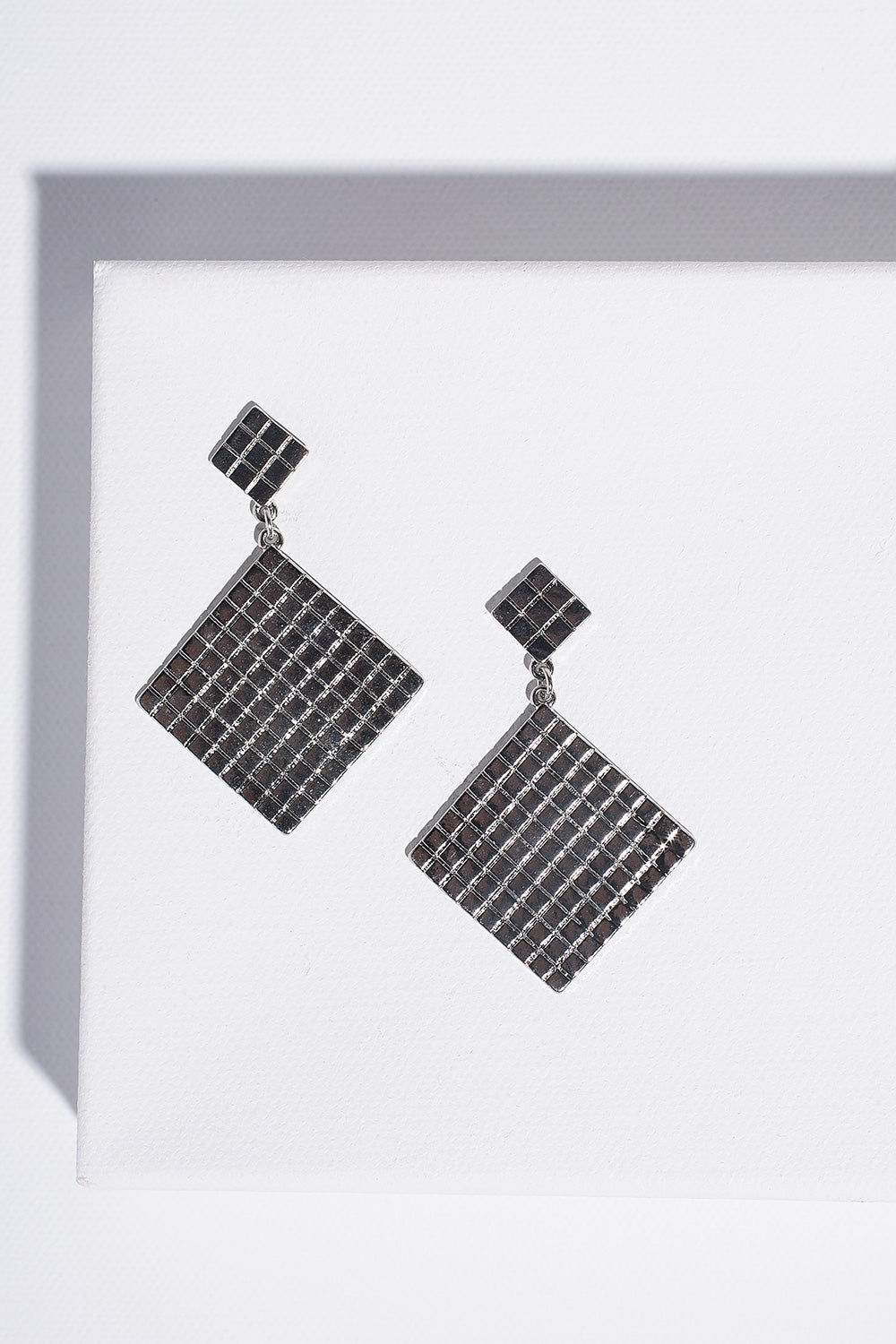 Type 4 Silver Grid Earrings