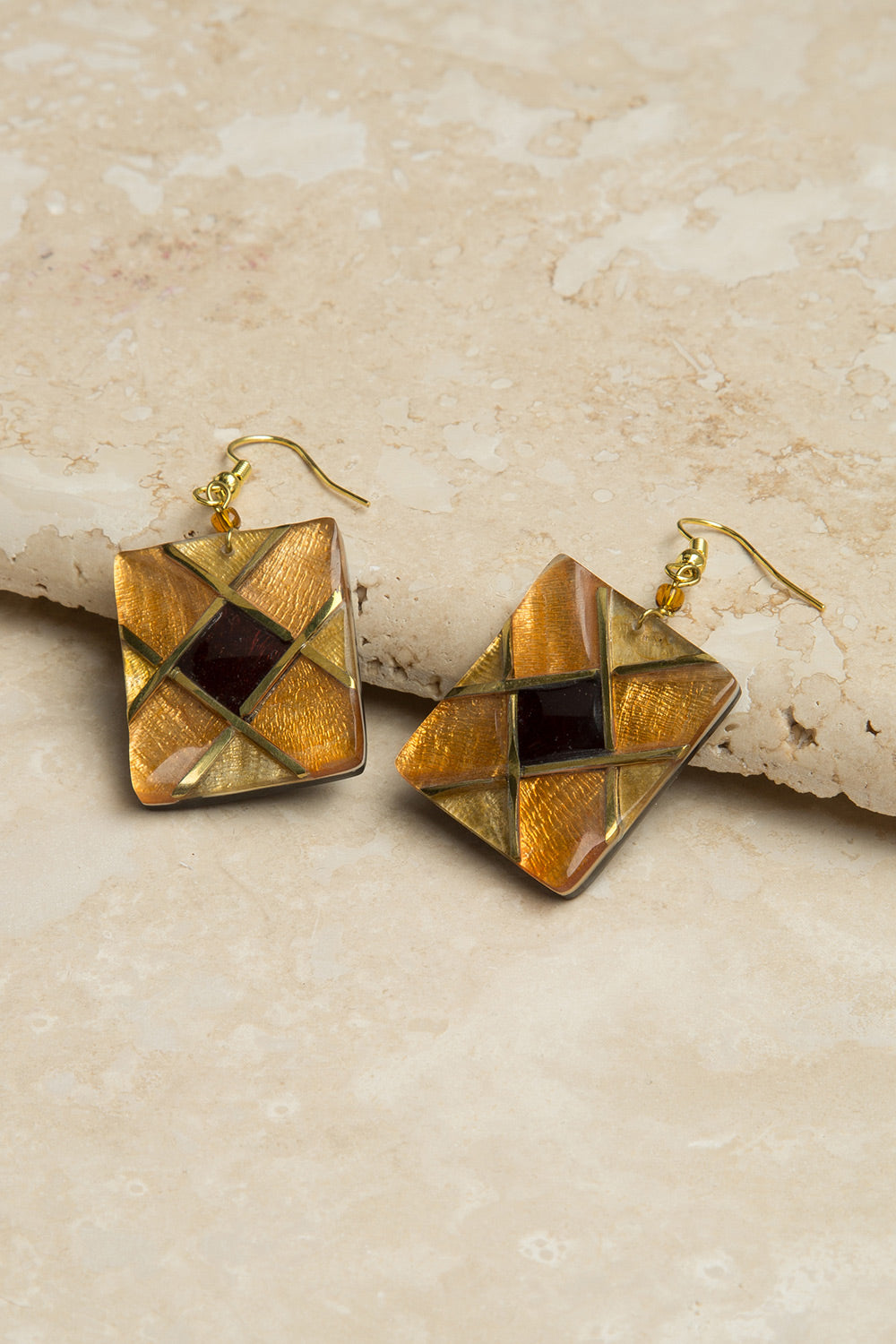 Type 3 Golden Glass Earrings