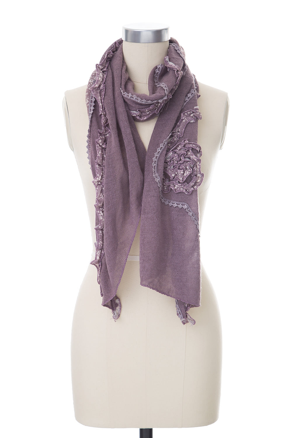 Type 2 Ruffled Rose Scarf in Lavender