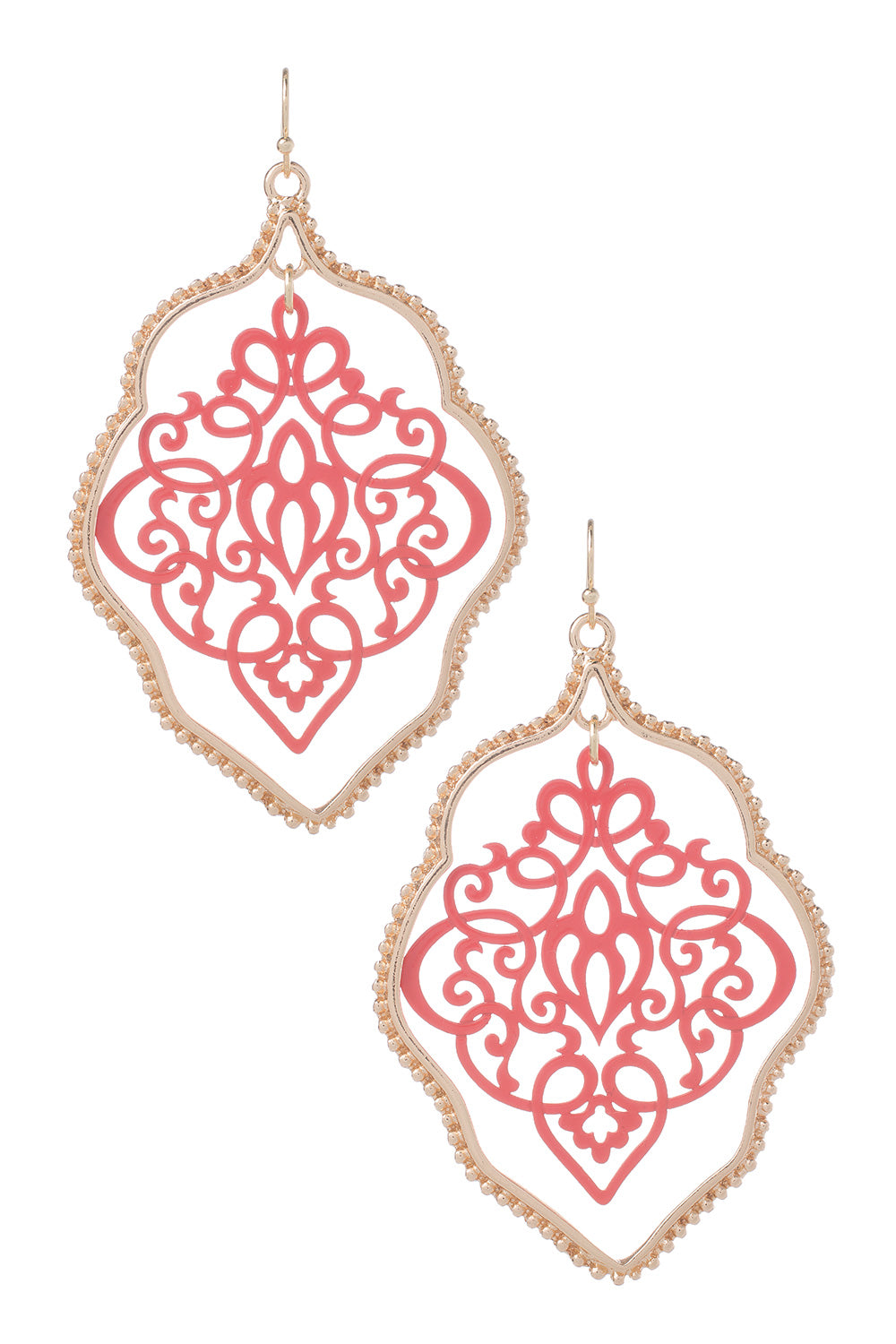 Type 3 Doily Frame Earrings in Red