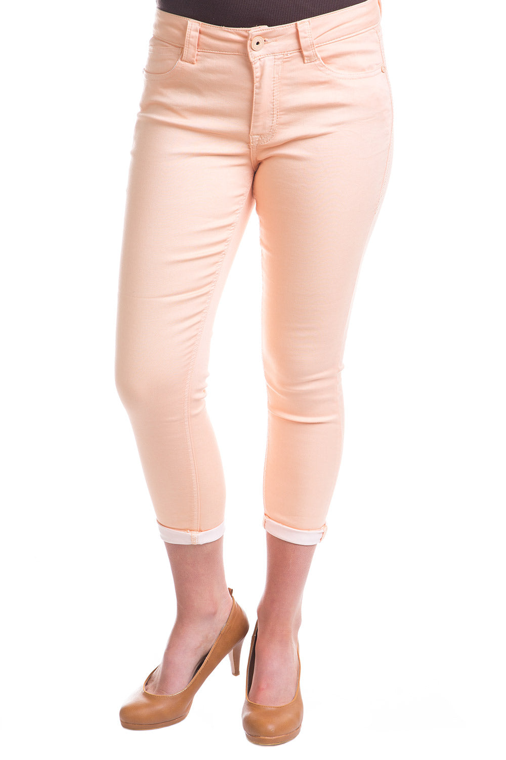 Type 3 Mid-Rise Crop Pants in Peach