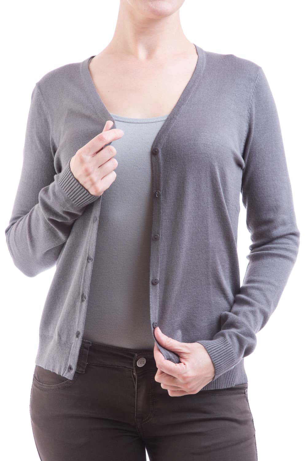 Type 2 Essential V-Neck Cardigan in Pewter