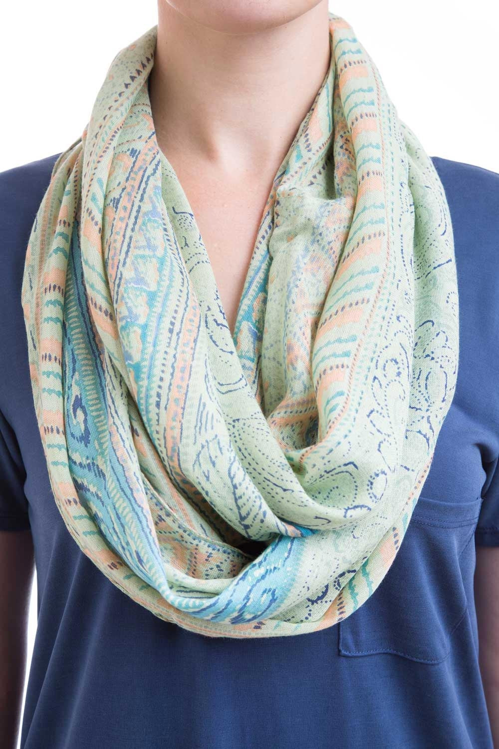 Type 2 Peaches And Green Scarf