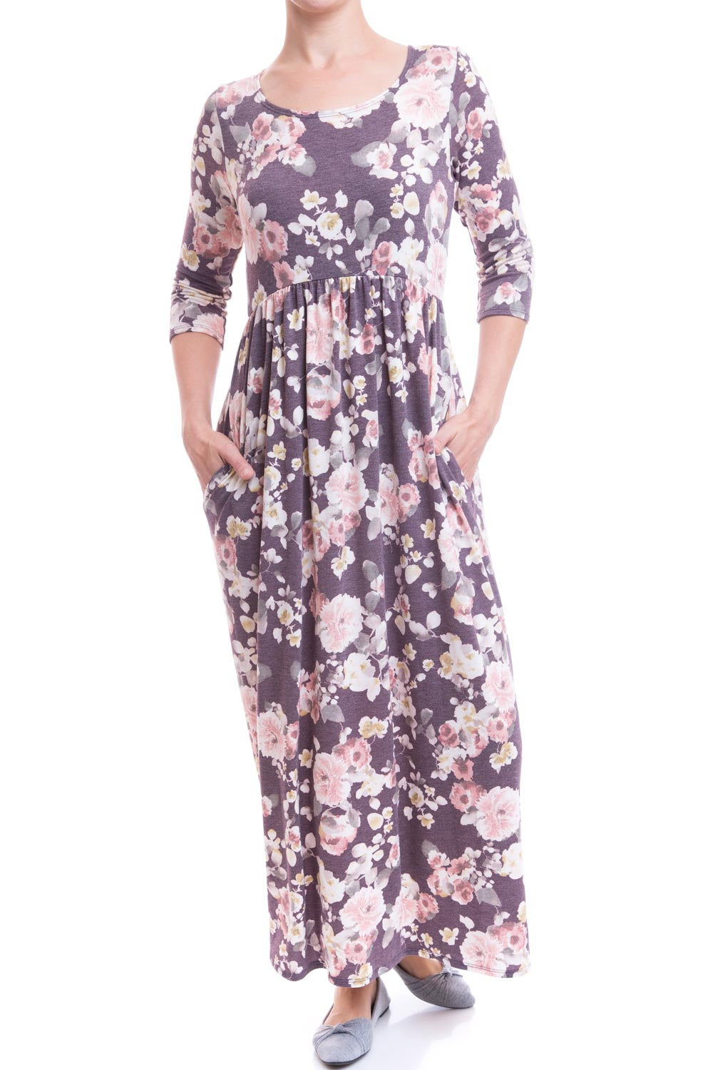 Type 2 Cozy Comfy Dress In Floral Plum