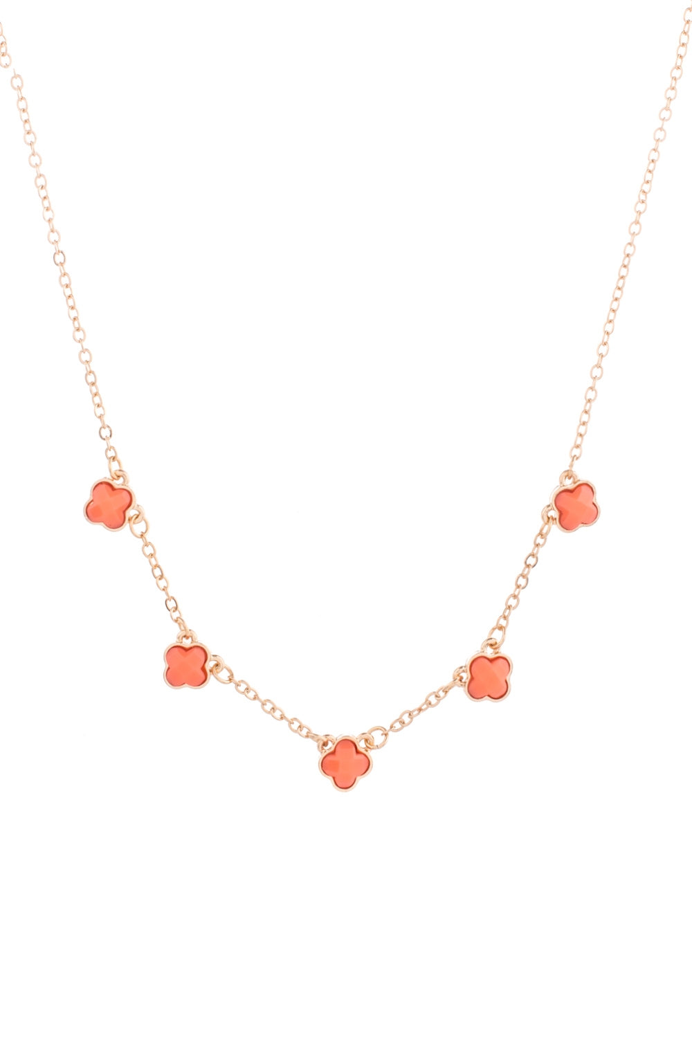Type 1 Clever Clovers Necklace In Orange