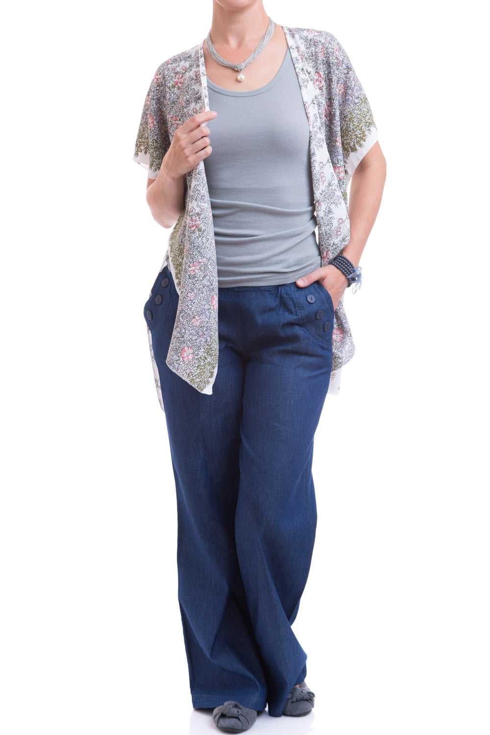 Type 2 Buttoned Blue Pants