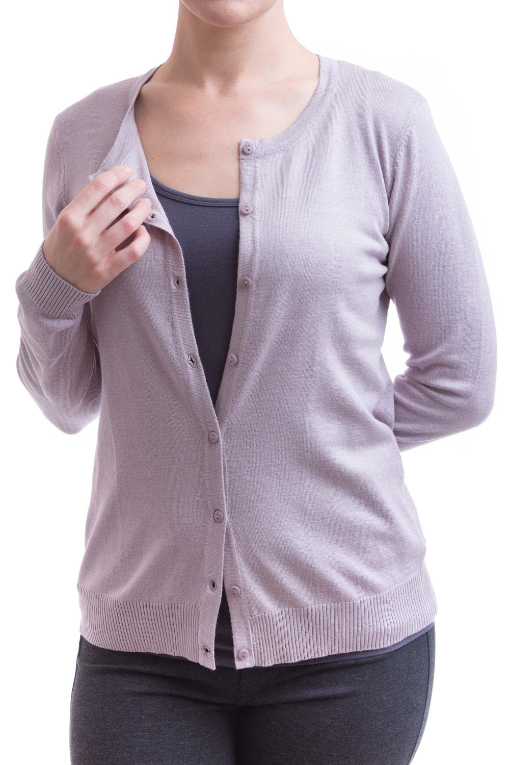 Type 2 Essential Crew-neck Cardigan In Lilac Gray