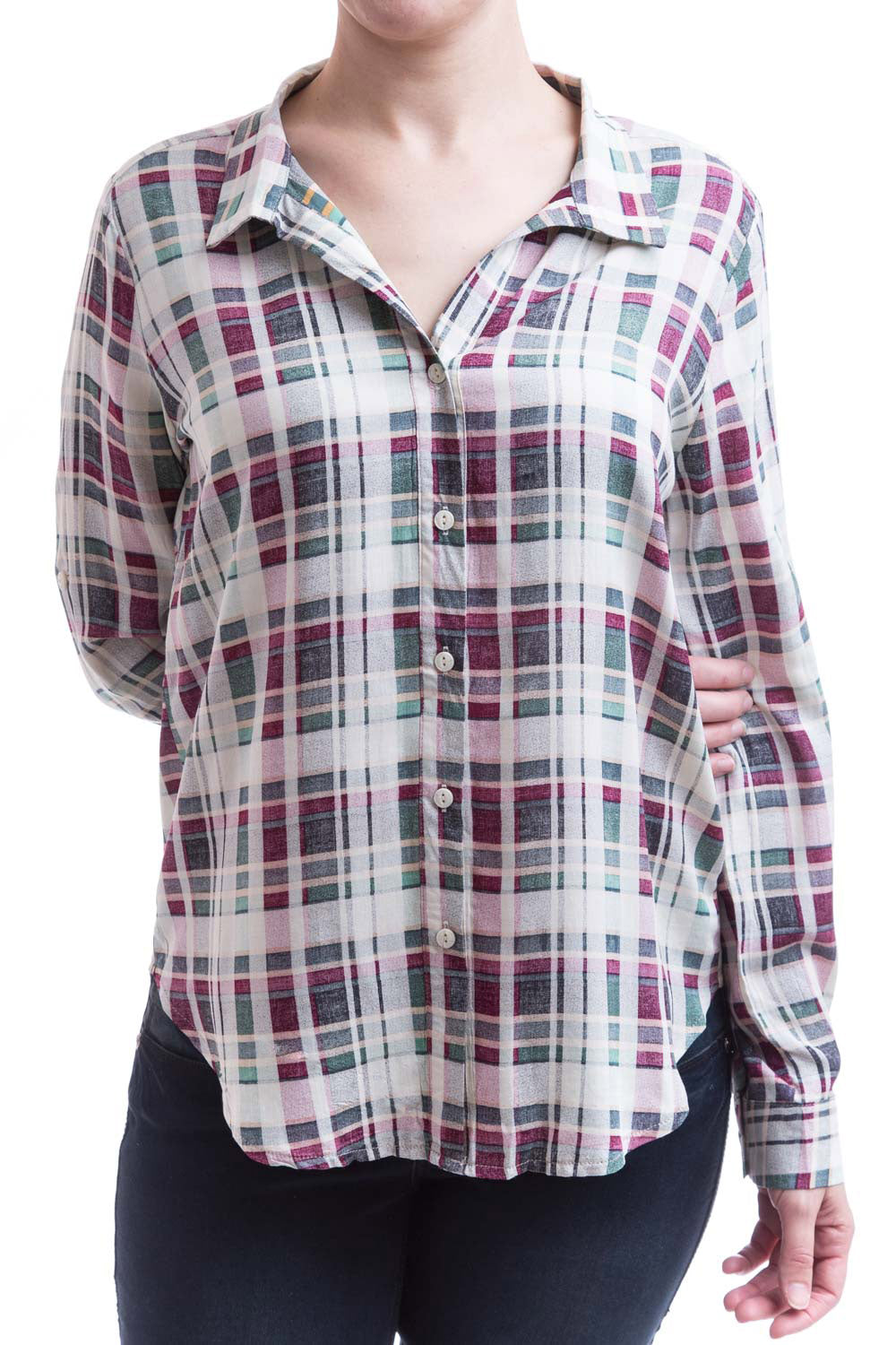 Type 2 Berry Plaid Top