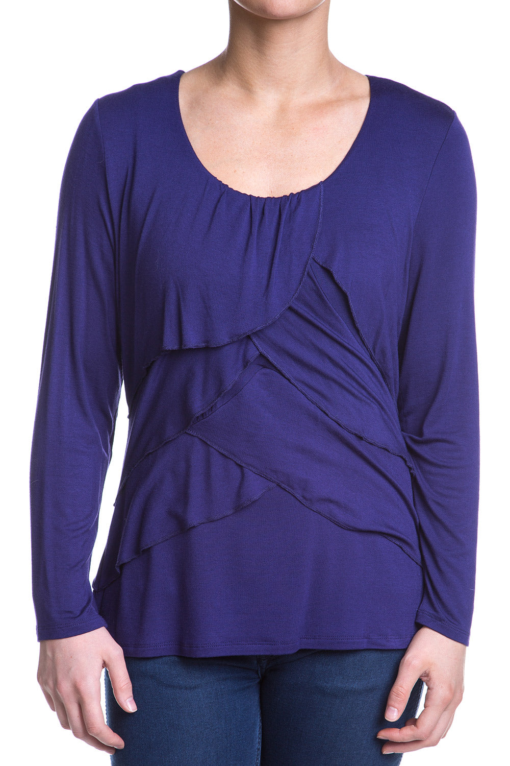 Type 2 Exposed Ruffle Top In Grape
