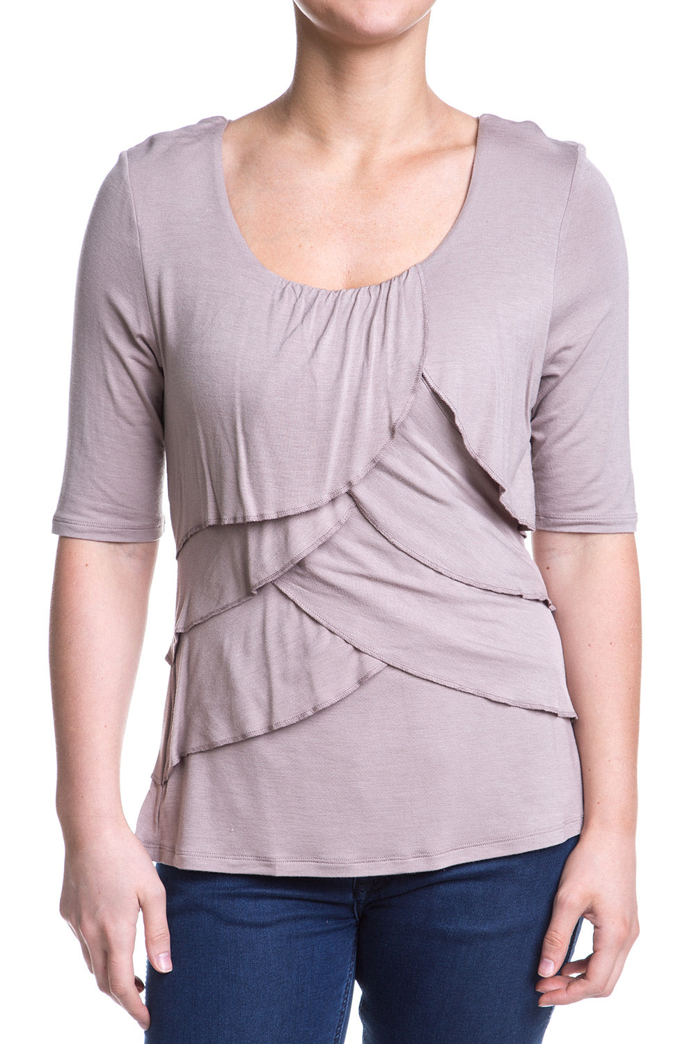 Type 2 Exposed Ruffle Top In Taupe