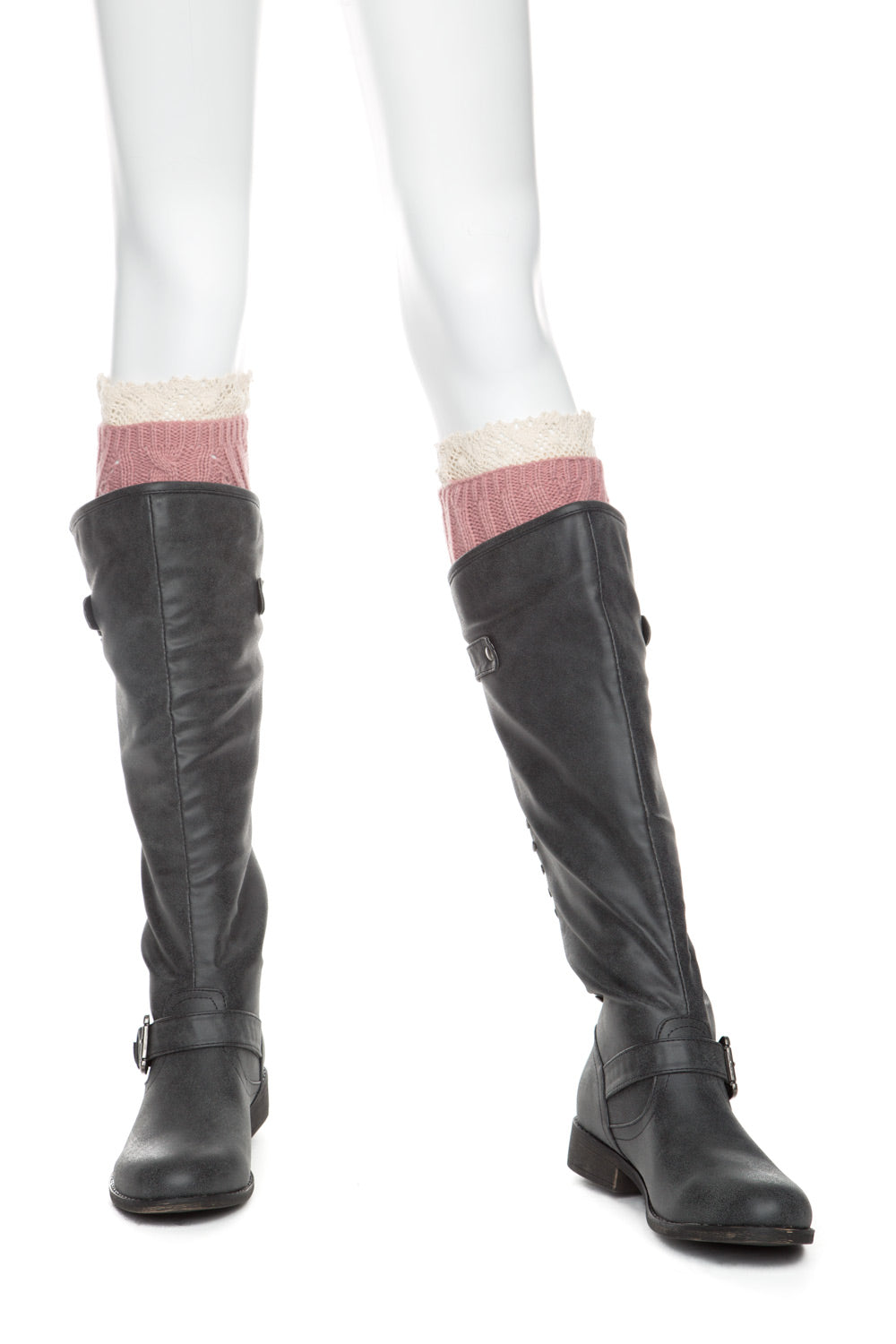Type 2 Lovely Lace Boot Toppers in Rose