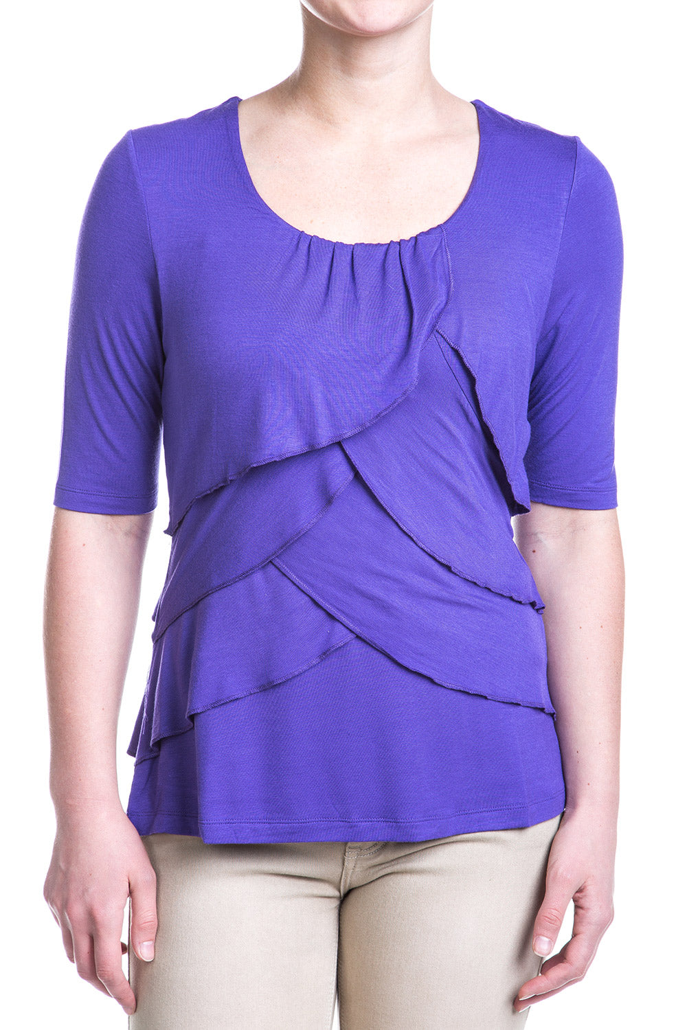 Type 2 Exposed Ruffle Top In Purple