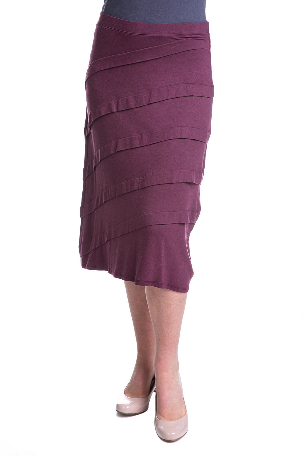 Type 2 Pleated Perfection Skirt In Wine