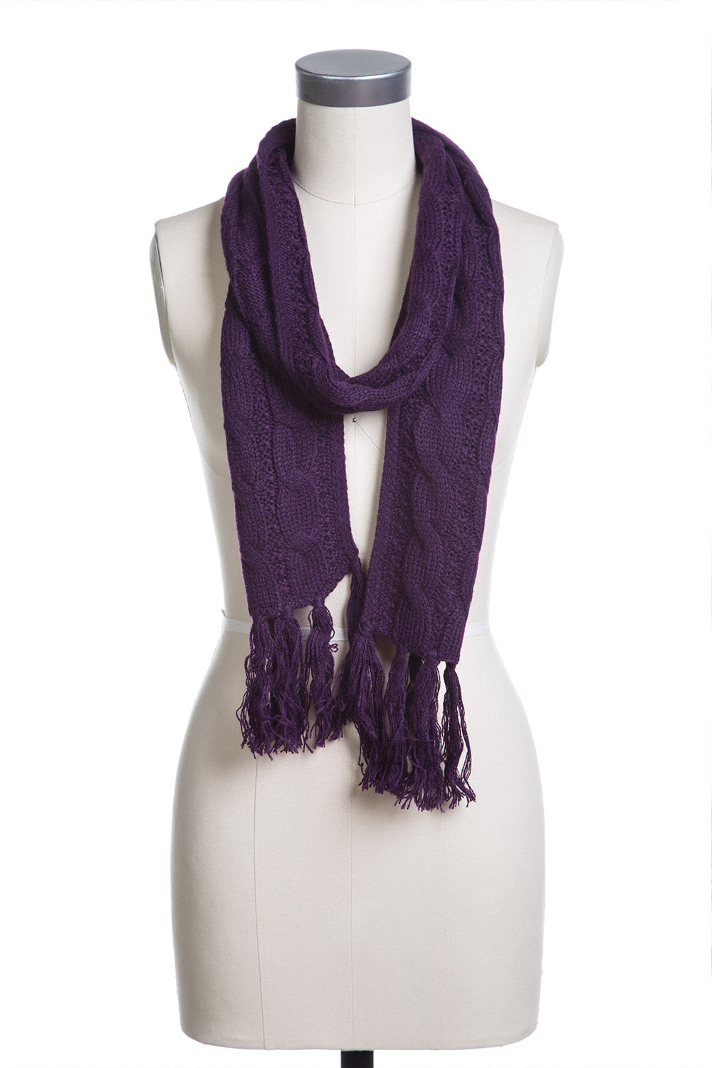 Type 2 Classic Cables Scarf In Purple