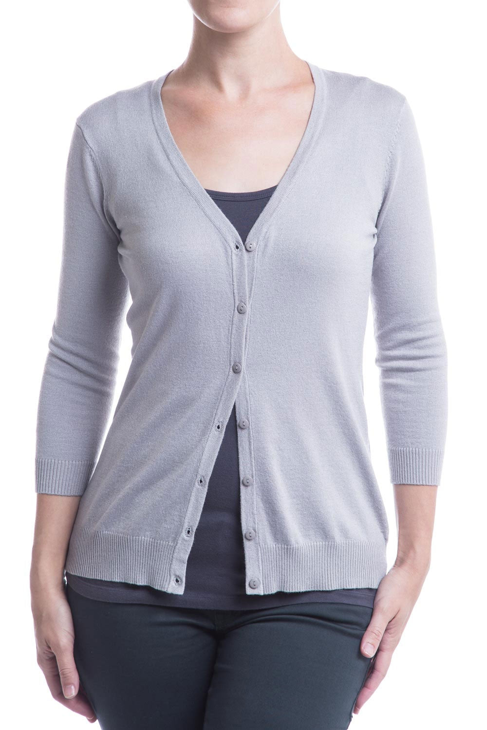 Type 2 Everyday V-neck Cardigan In Gray Dove