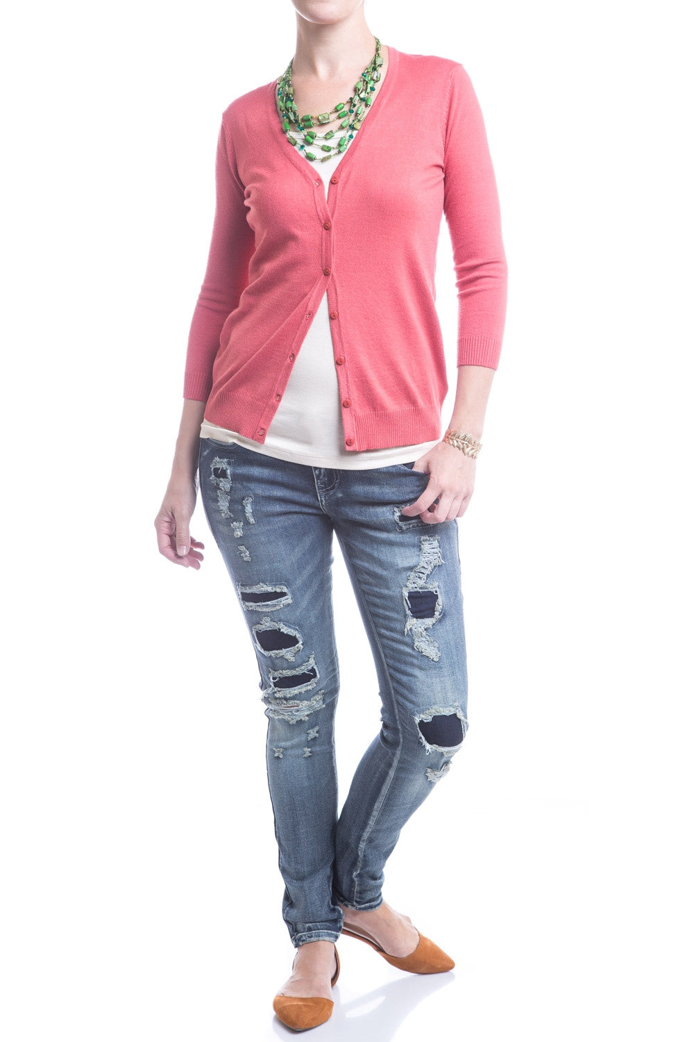Type 3 Everyday V-Neck Cardigan In Mineral Red