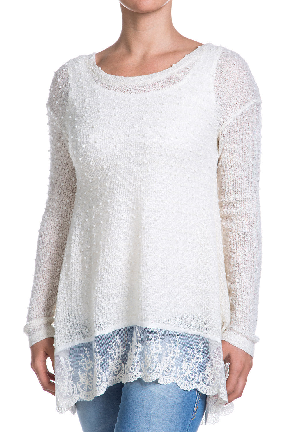 Type 1 Sheer Polka Sweater Top