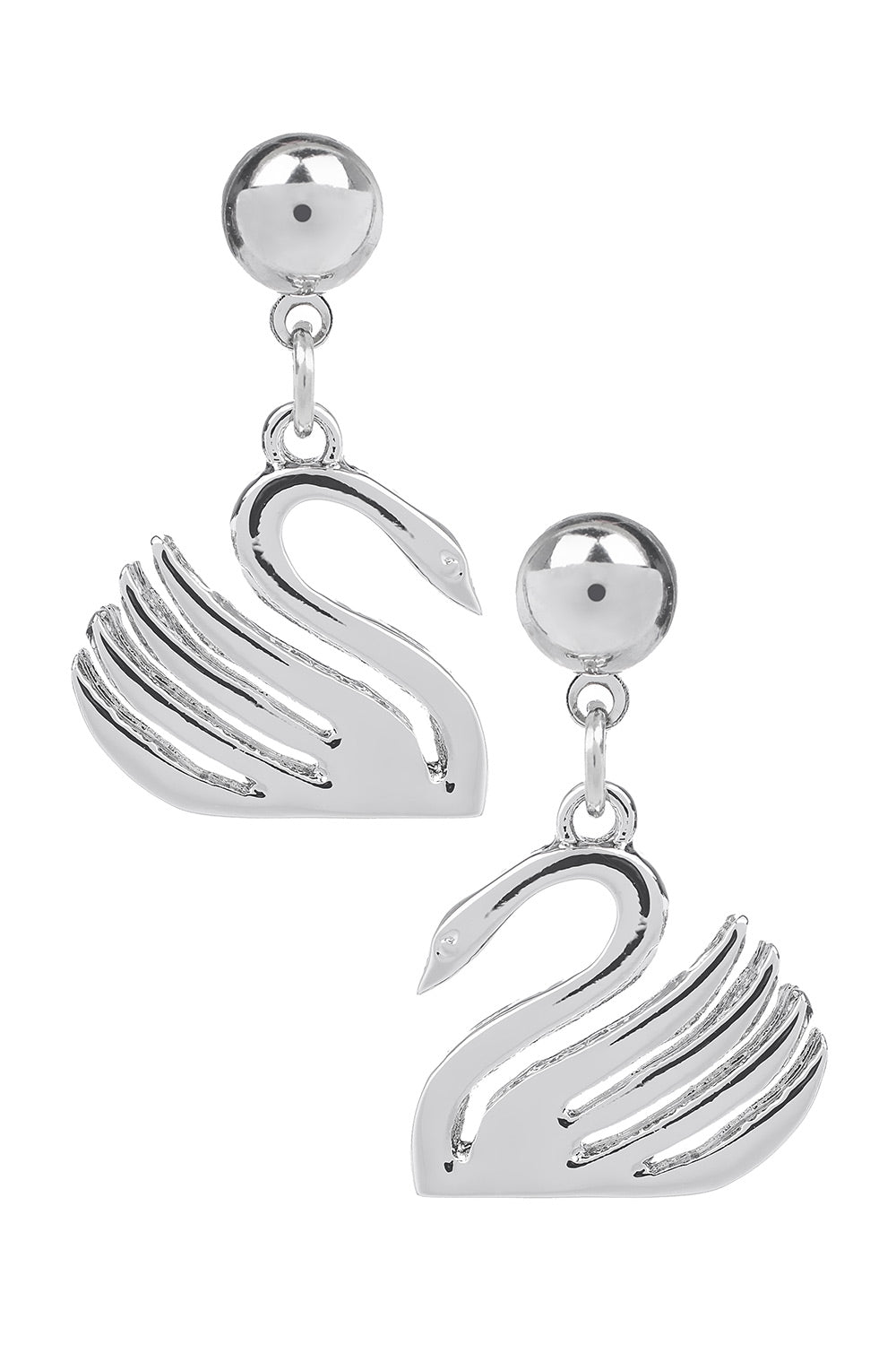 Type 4 Swan Earrings - Silver