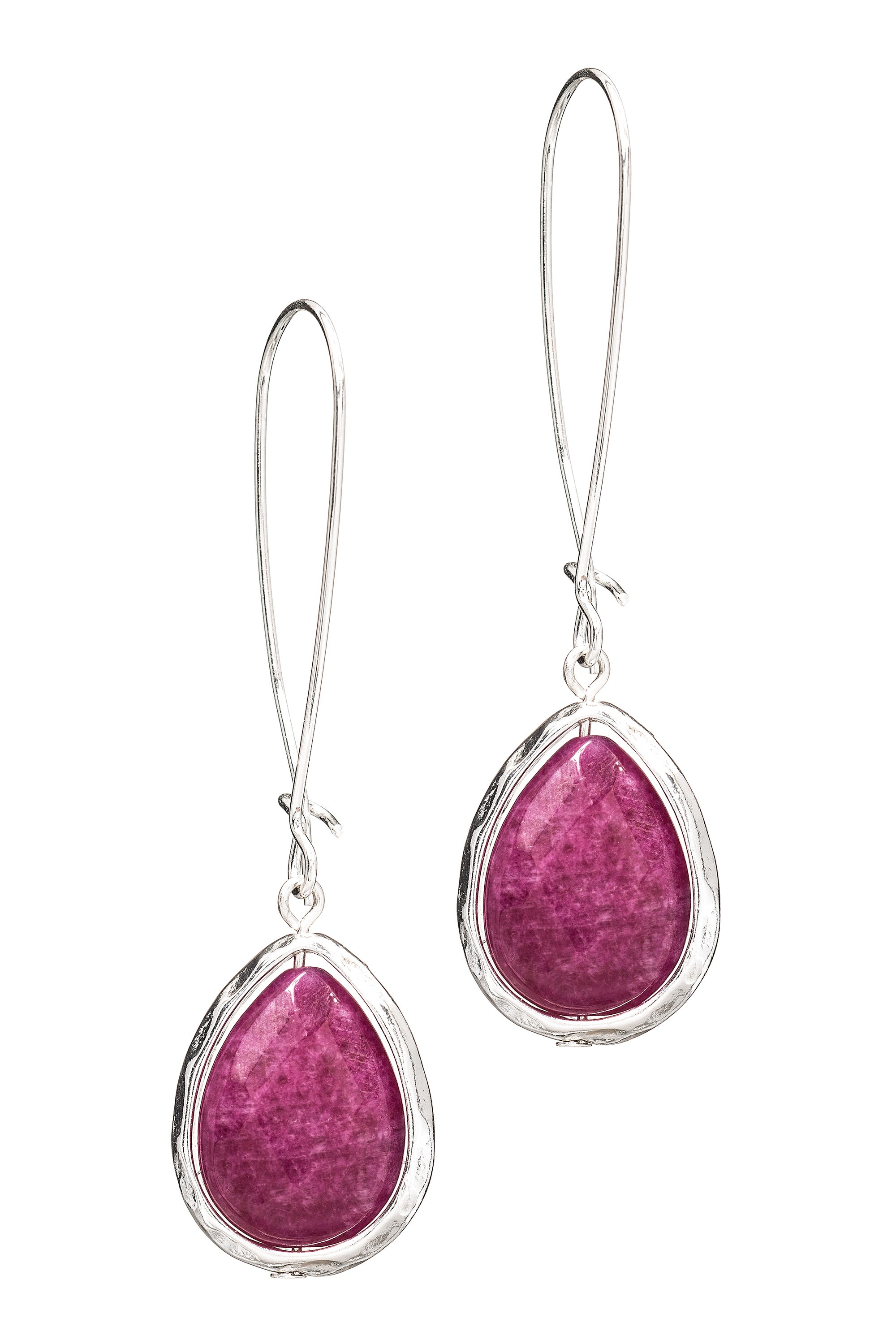 Type 4 Clear Cut Earrings in Magenta