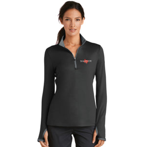 Nike Ladies Dri-FIT Stretch 1/2-Zip Cover-Up (Black and Grey)